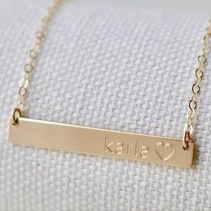 Jewelry - 14K Gold-Filled Engraved Bar Necklace - Handmade